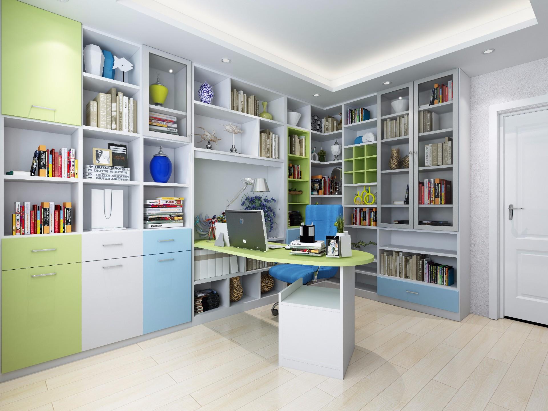 书柜—暖白、草绿色、蓝色