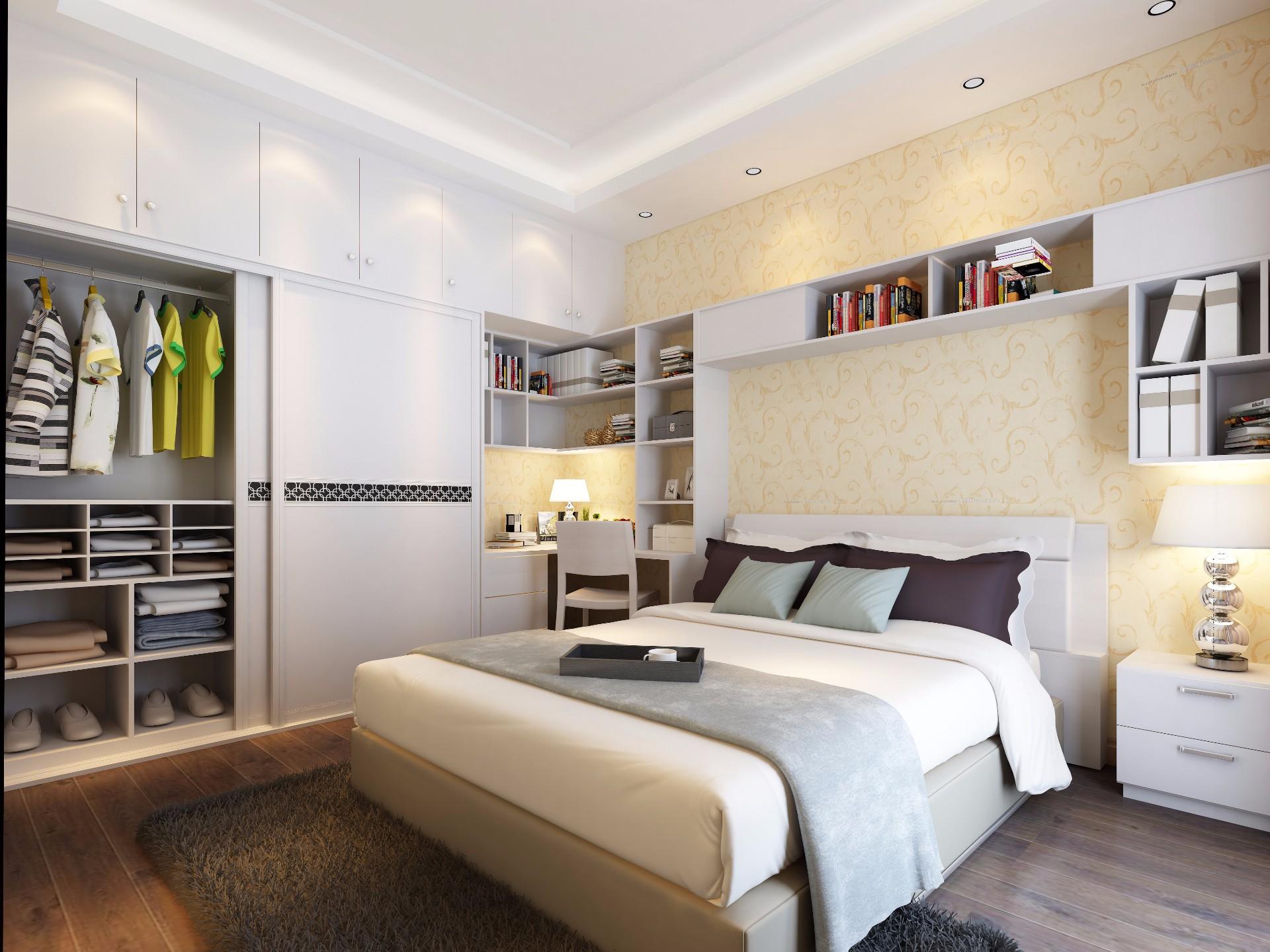 床+床头柜—象牙白
